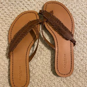 Coach Feather Thong Sandals Size 6 New
